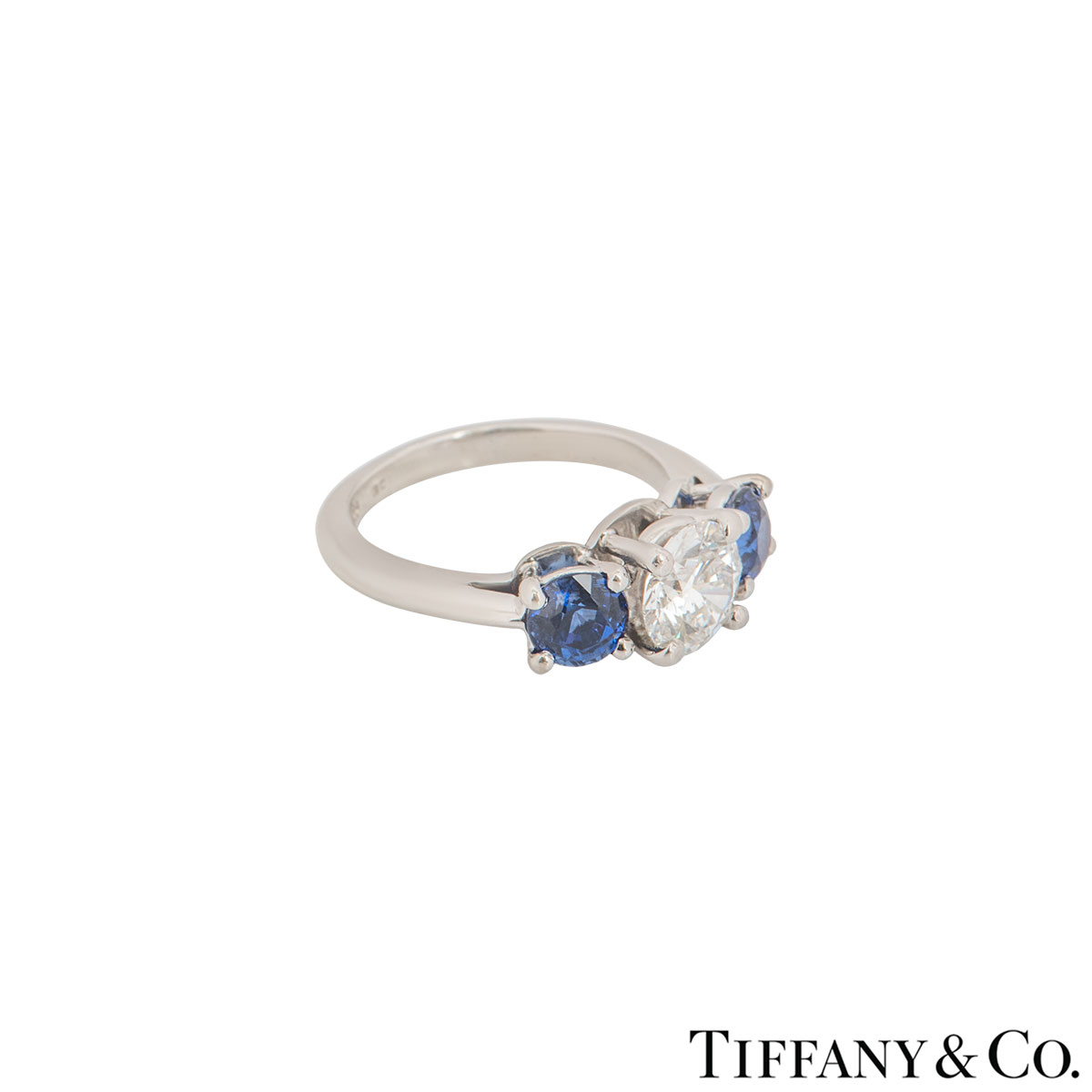 Tiffany & Co. Platinum Diamond And Sapphire Ring 1.06ct E/VS1